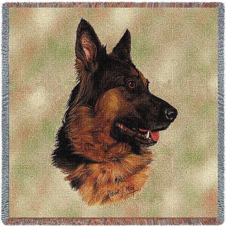 German Shepherd Dog Portrait Art Tapestry Lap Throw