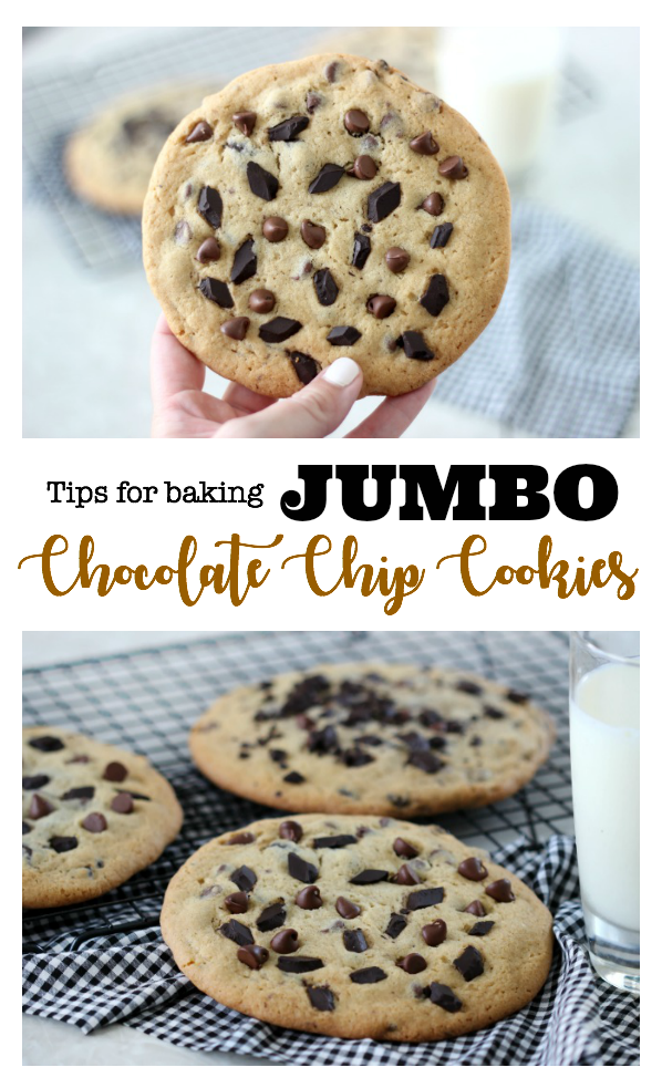 Jumbo chocolate chip cookies that are soft, chewy, baked ...