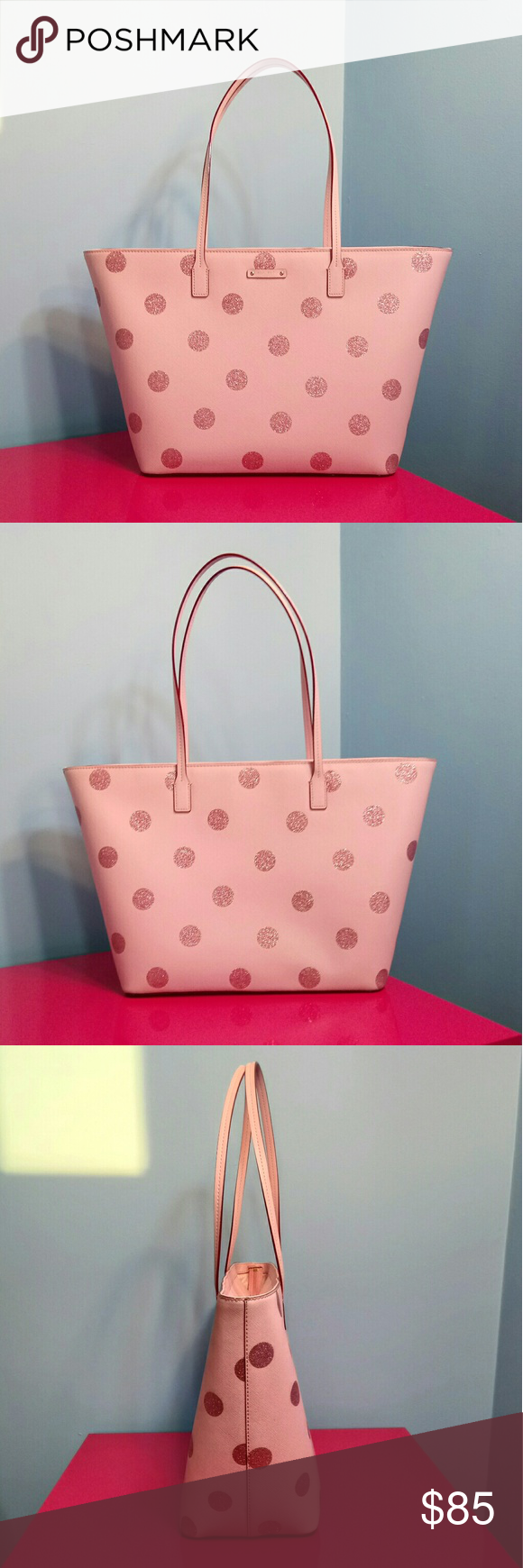Kate Spade Haven Lane Margareta Pink Polka Dots This bag is pre-owned. Good conditions. Saffiano textured pvc, glittered polka dots. So lovely and roomy bag! Kate Spade  Bags Totes