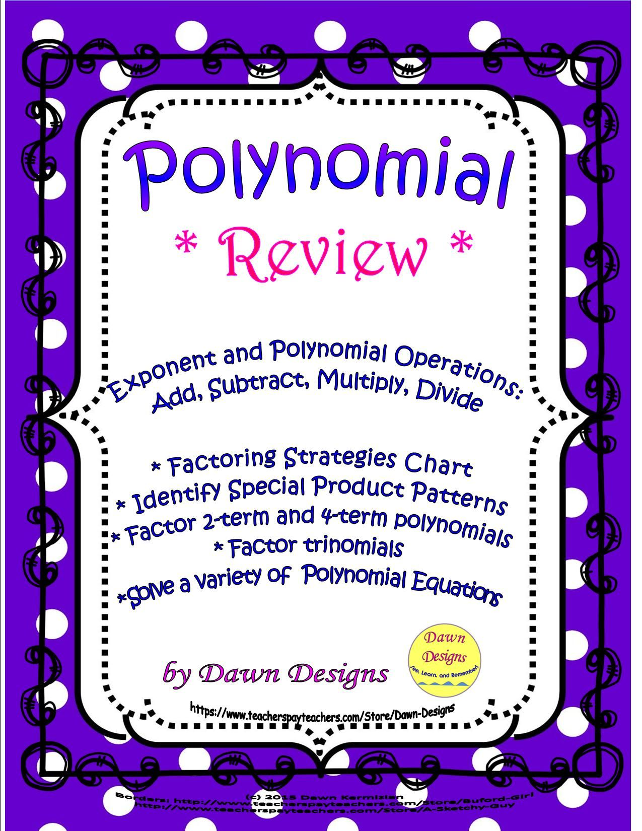 Polynomial Review Exponent & Polynomial Operations