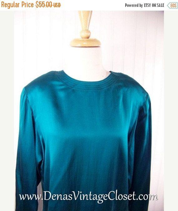 50% OFF SALE Ladies 80s Vintage Henri Bendel Emerald Green Silk Blouse Shirt Sz XL