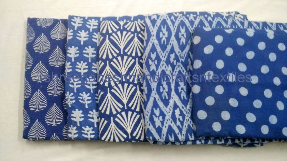 2.5 Yard Indigo Blue Cotton Hand Block Print Fabric Indian Sanganeri Dabu Fabric