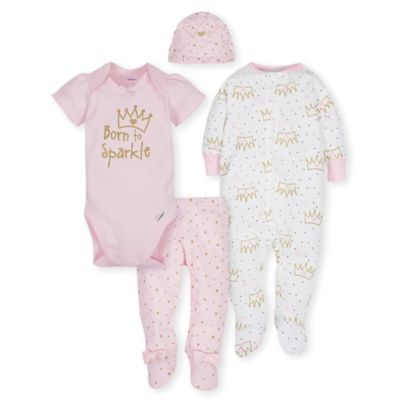 dcfec7d5a Gerber Size 3-6M 4-Piece Princess Take Me Home Set In Pink Pink gold ...