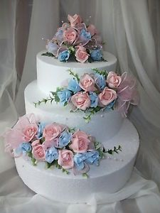 3 TIER WEDDING FLOWER CAKE TOPPERS.pink and blue | Flower cake ...