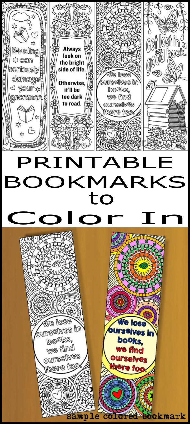 printable coloring bookmark templates with four designs with great