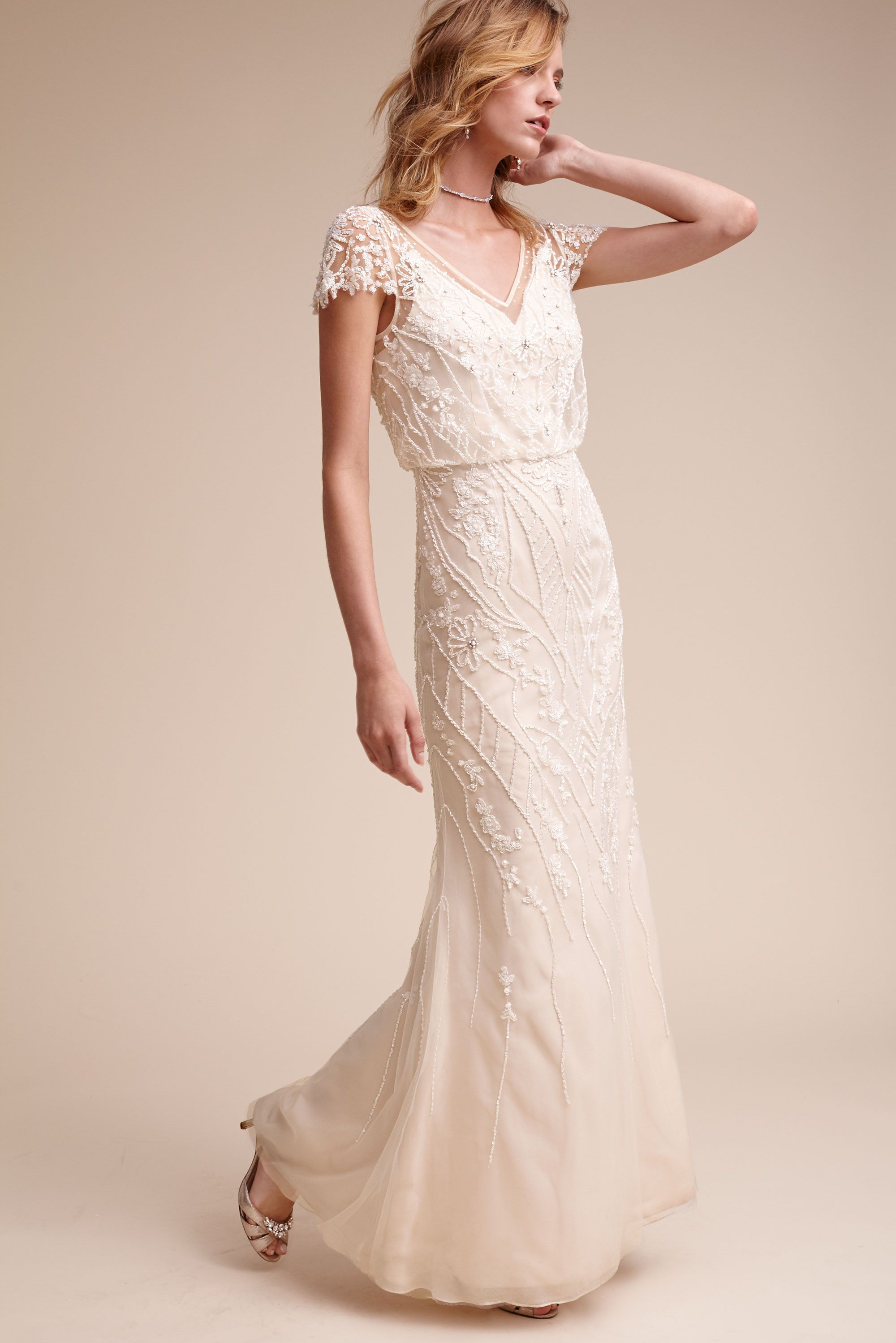 Casual wedding dress with sleeves  BHLDN Aurora Gown in Bride Wedding Dresses Sleeves  BHLDN