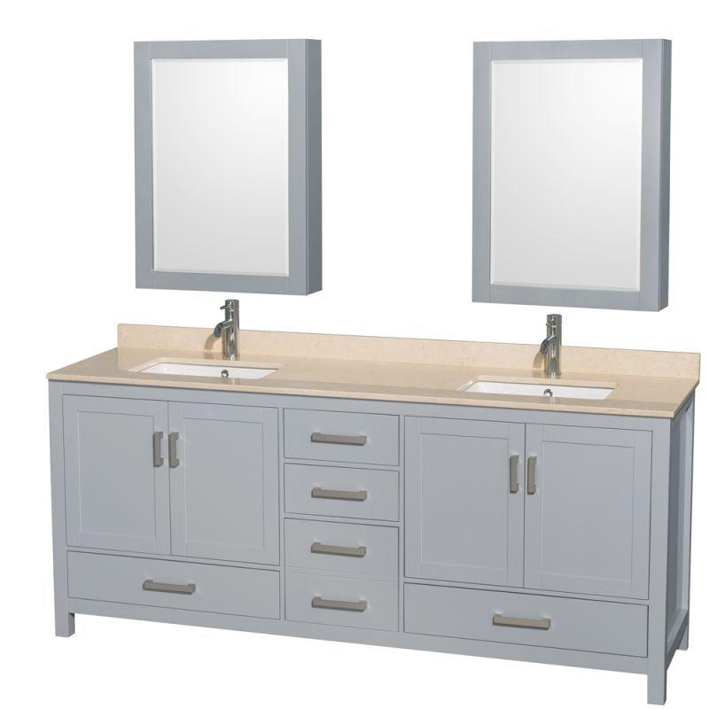 "Wyndham Collection WCS141480DUNSMED Sheffield 80"" Freestanding Hardwood Vanity C Gray / Ivory Top Fixture Vanity Double"