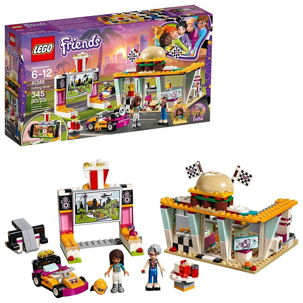 LEGO Friends Drifting Diner & Drive In Movie Theater w/ Andrea ...