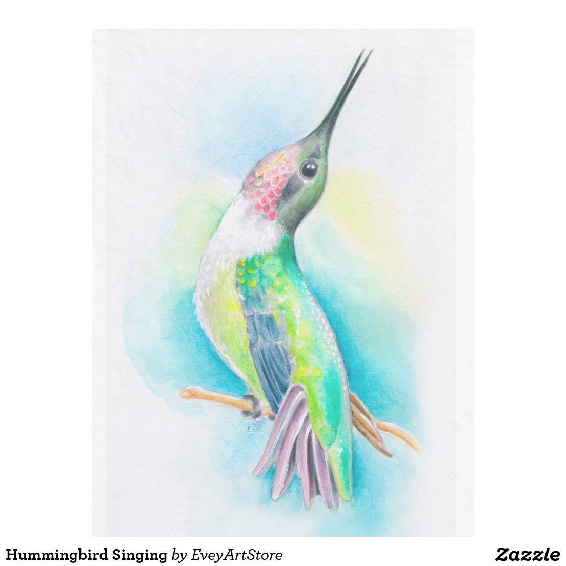 Hummingbird Singing Fleece Blanket Hummingbird and Blanket