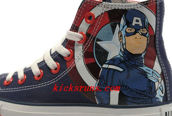 9a713300c616 Converse Captain America High Tops The Avengers Edition Blue Red White  Stripes Canvas Shoes
