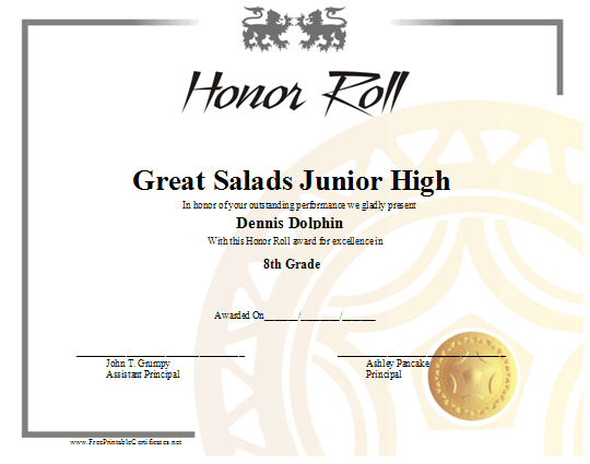 This honor roll certificate with a grey border lions and a gold this honor roll certificate with a grey border lions and a gold seal yadclub Image collections