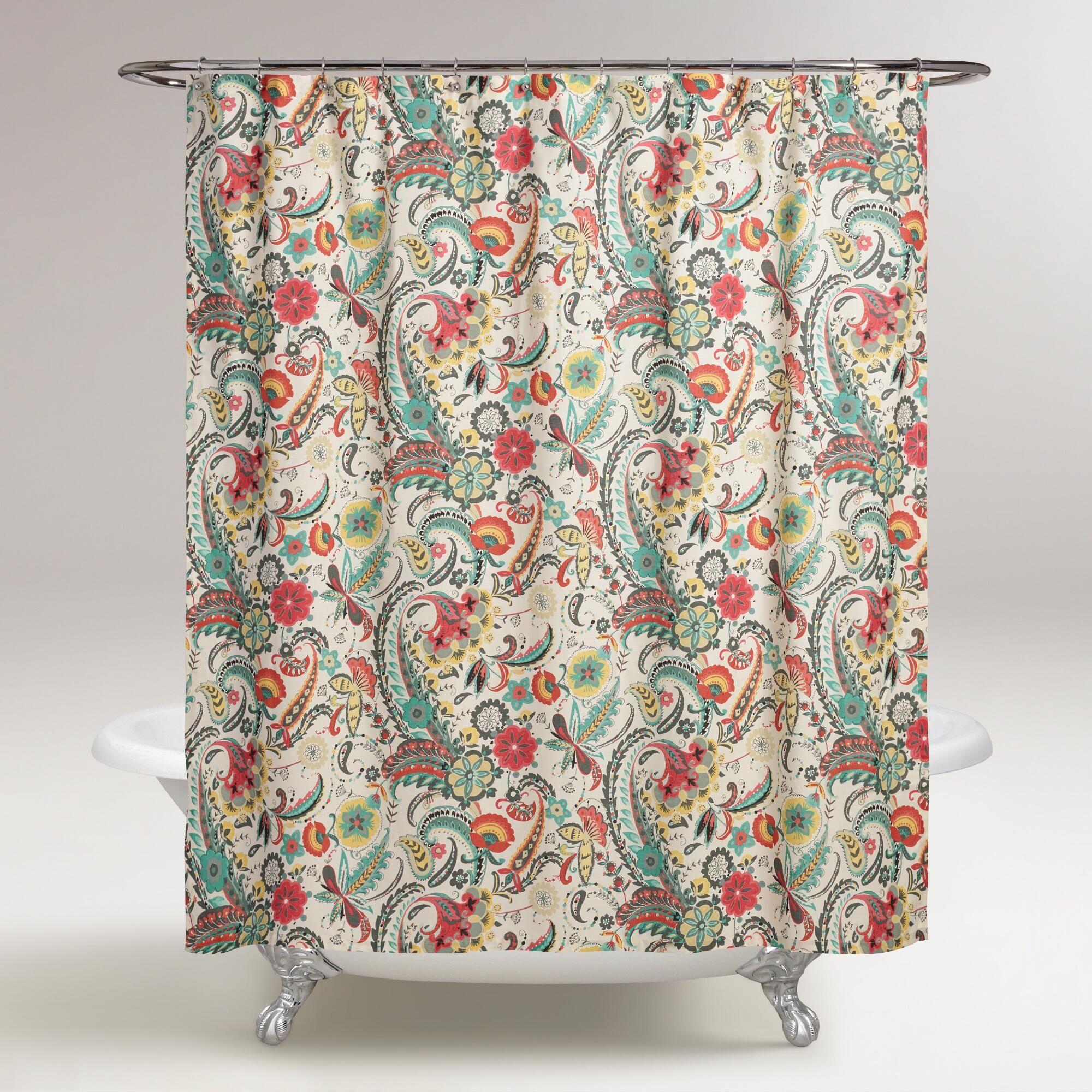 Paisley Floral Kadiri Shower Curtain Unique Shower Curtain