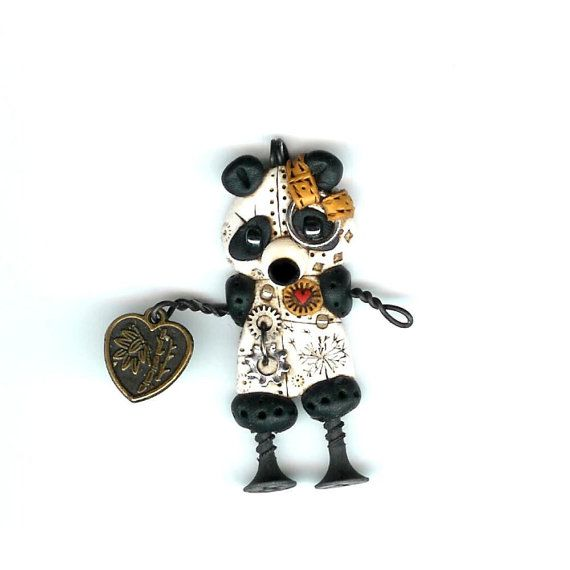 Reserved for Meekaa Steampunk Panda Robot With Good Luck Heart Charm Necklace Polymer Clay Jewelry