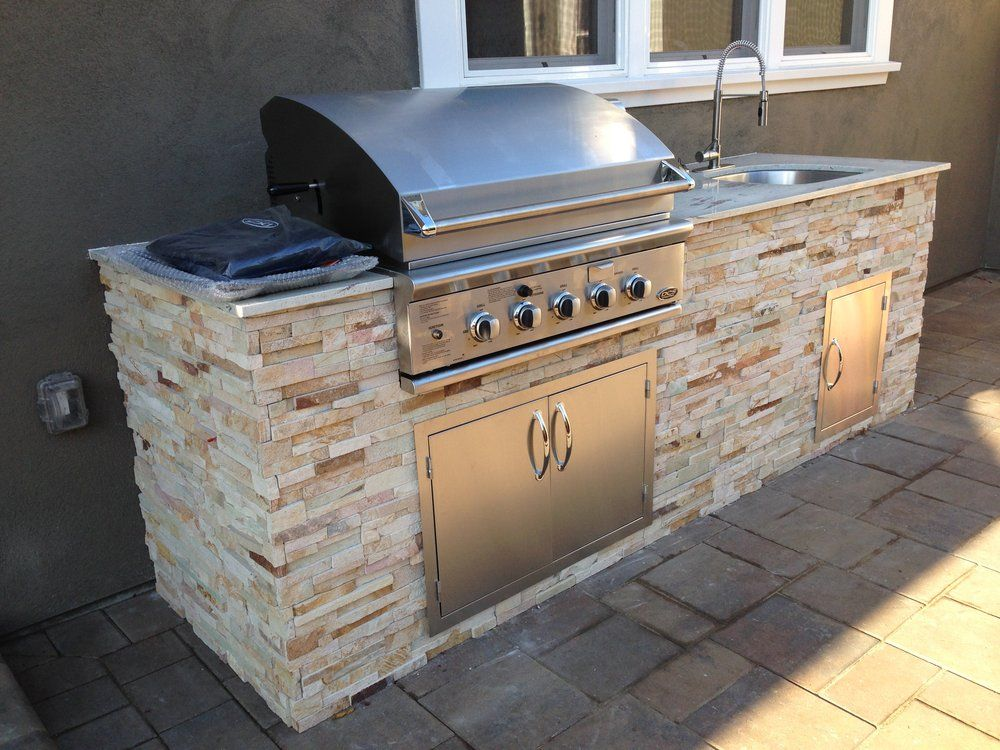 Bbq Island 9 With Granite Top Stone Veneer Yelp Small Outdoor Kitchens Outdoor Kitchen Bars Grill Gazebo