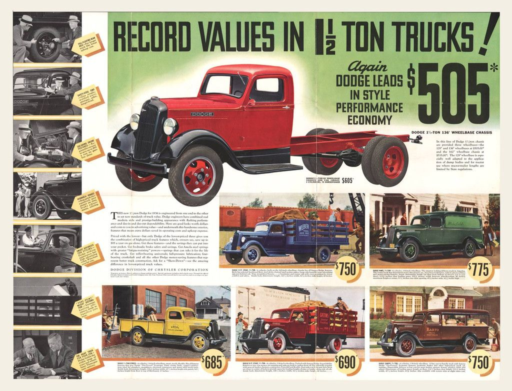 1936 Dodge 1 1 2 Ton Trucks Brochure Mailer Trucks Dodge Old Dodge Trucks