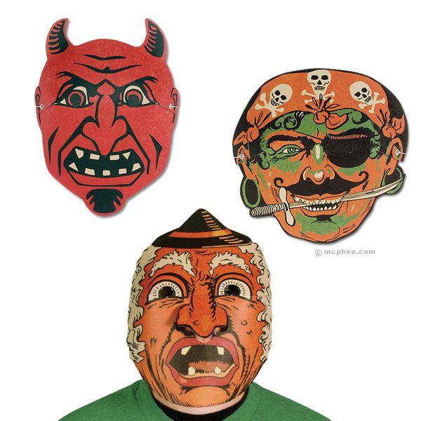 Vintage Paper Masks Halloween Paper Halloween Masks Vintage Halloween