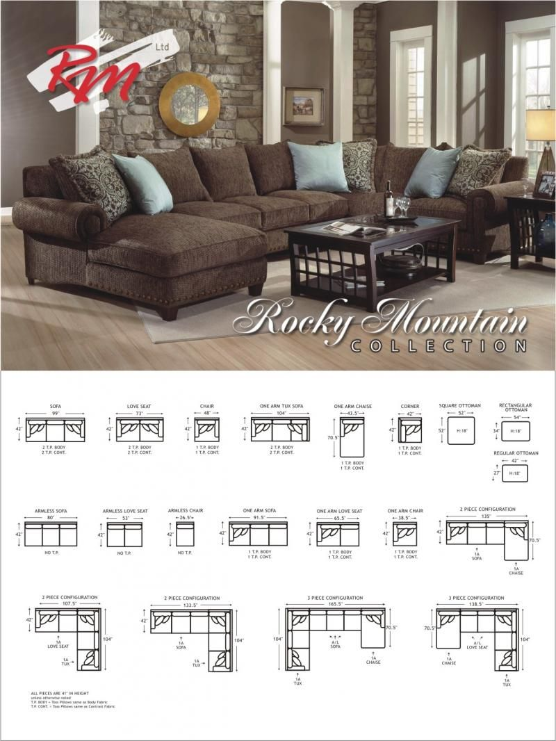 Rocky mountain sectional layout dimensions  sc 1 st  Pinterest : rocky mountain sectional - Sectionals, Sofas & Couches