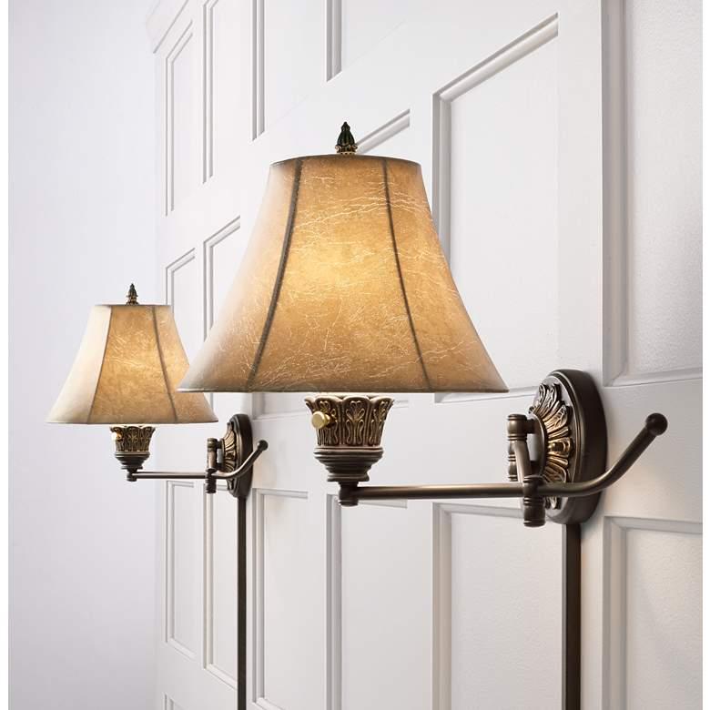Rosslyn Set of 2 Bronze PlugIn Swing Arm Wall Lamps