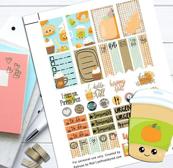 Pumpkin spice fall theme planner weekly sticker kit happy paper party supplies paper