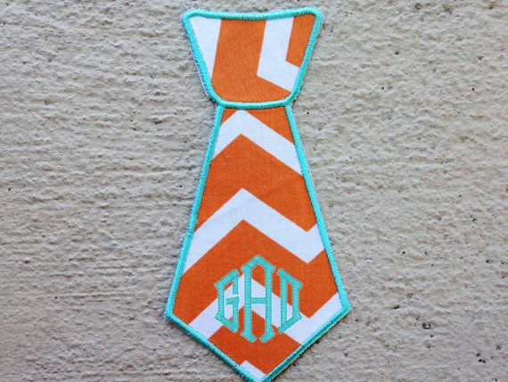 Iron On Orange Chevron Monogrammed Baby Boy Neck Tie - Iron On Applique - Baby Tie- Trendy Baby Boy - DIY Iron-On Tie Patch - High Quality - great for photo shoots!