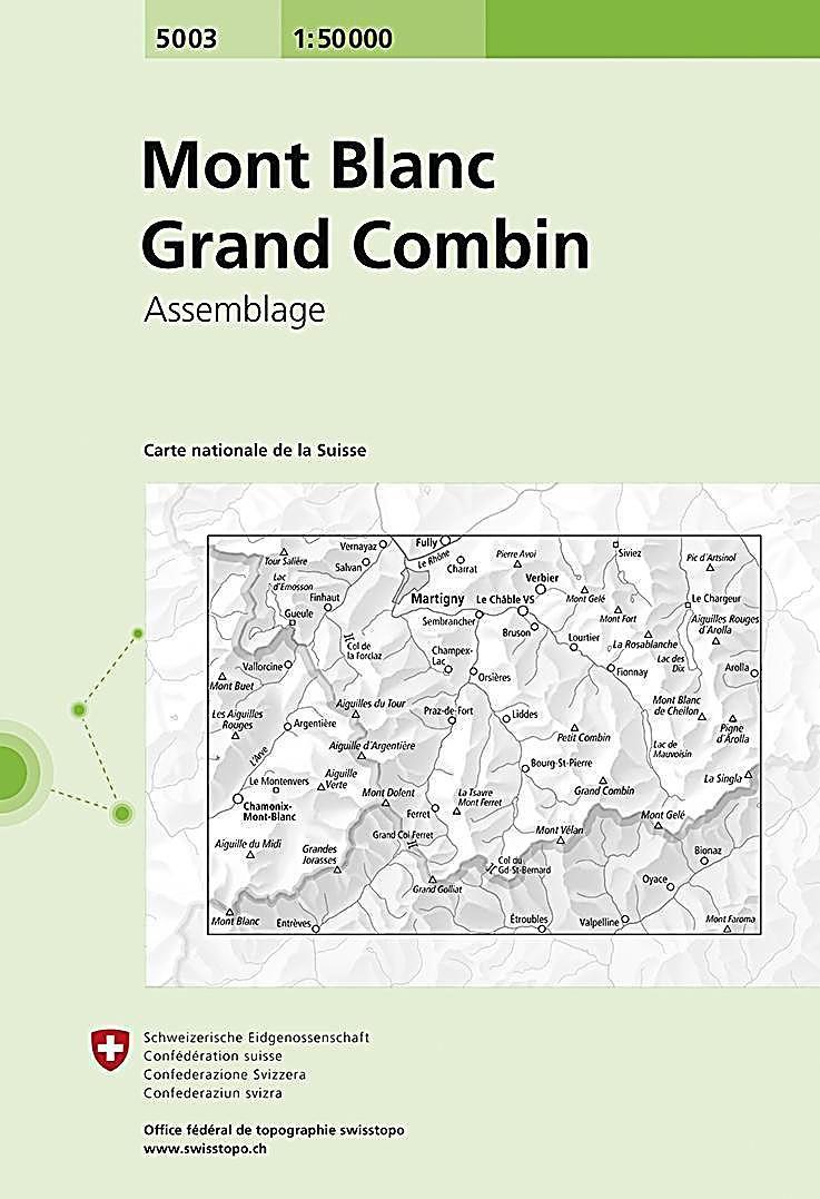 Landeskarte Der Schweiz 5003 Mont Blanc Grand Combin Karte