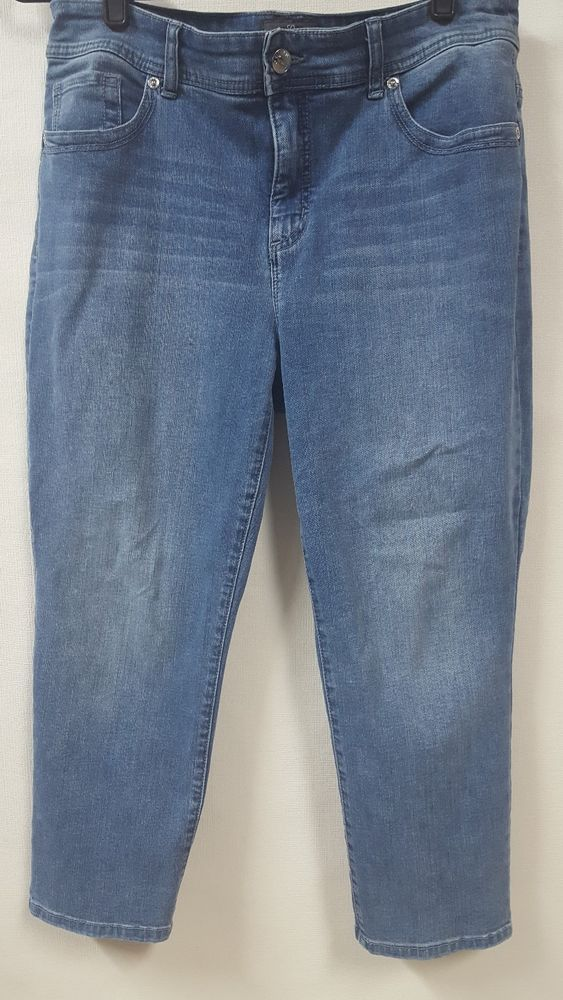 Chicos SO SLIMMING Blue Crop Jeans Size 1 Medium Bedazzled Back ...