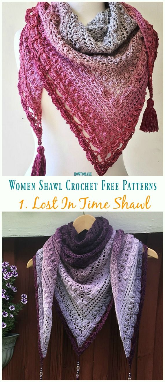 Lost In Time Shawl Crochet Free Pattern - Trendy Women Shawl