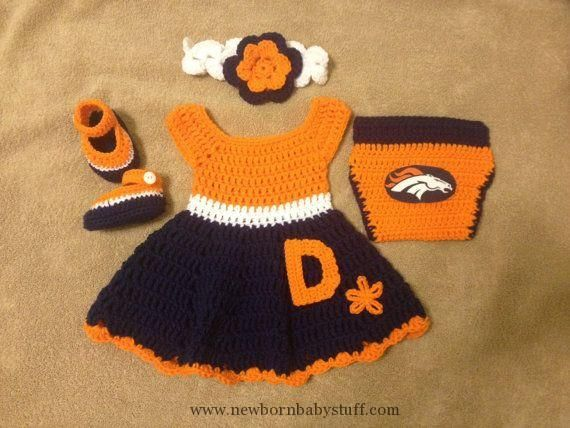 4c299ec6d Crochet Baby Dress Crochet baby dress set Denver Broncos