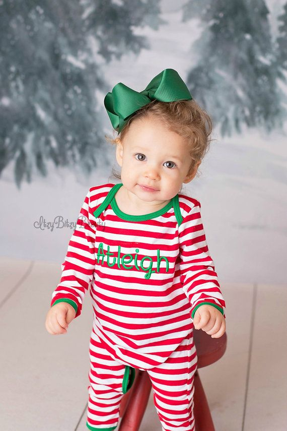 Red And White Stripe Christmas Pajamas Infant by Itzybitzybeauty ... eef531bb7