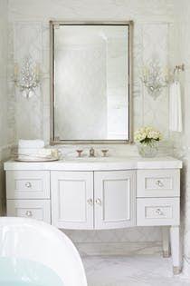 Ladies White Jewel Powder Room Bath Design Detail American Modern Coastal Transitional By St C Bath Design Bathroom Wall Sconces Benjamin Moore Bathroom