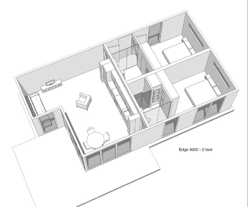 Floor plan of the Edge modular home by Boutique Modern at Penmayne ...