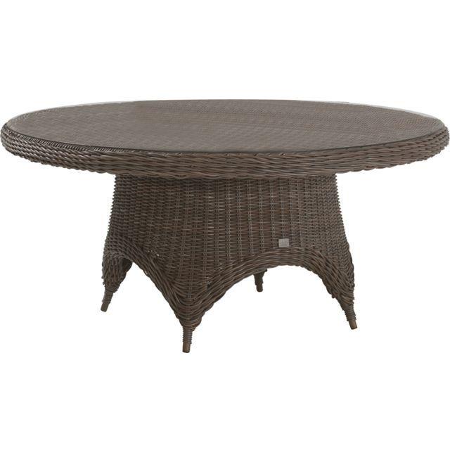 Comforium Table de jardin ø 170 cm en résine tressée coloris brun + ...