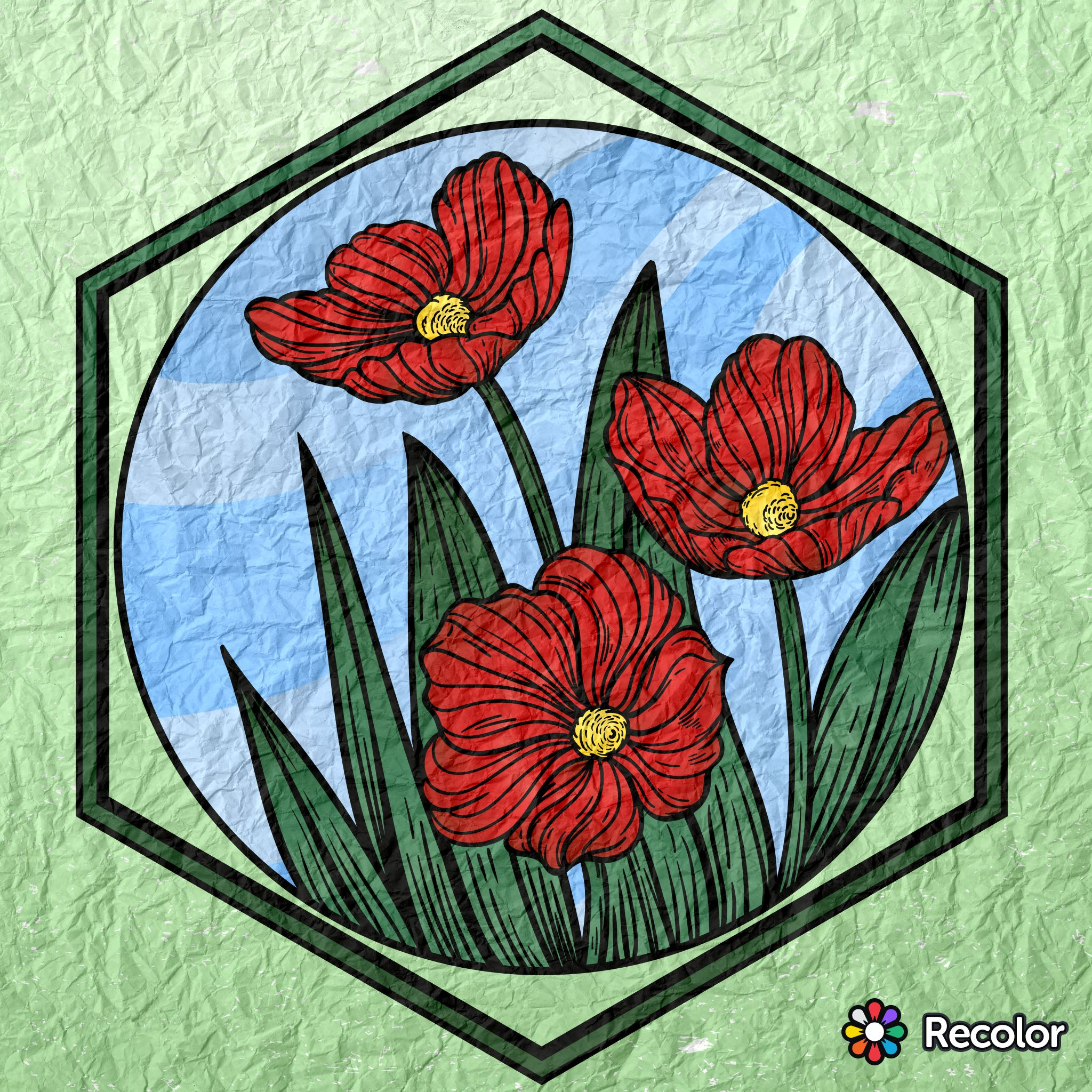 Poppies; Gradient colors with crumpled paper effect