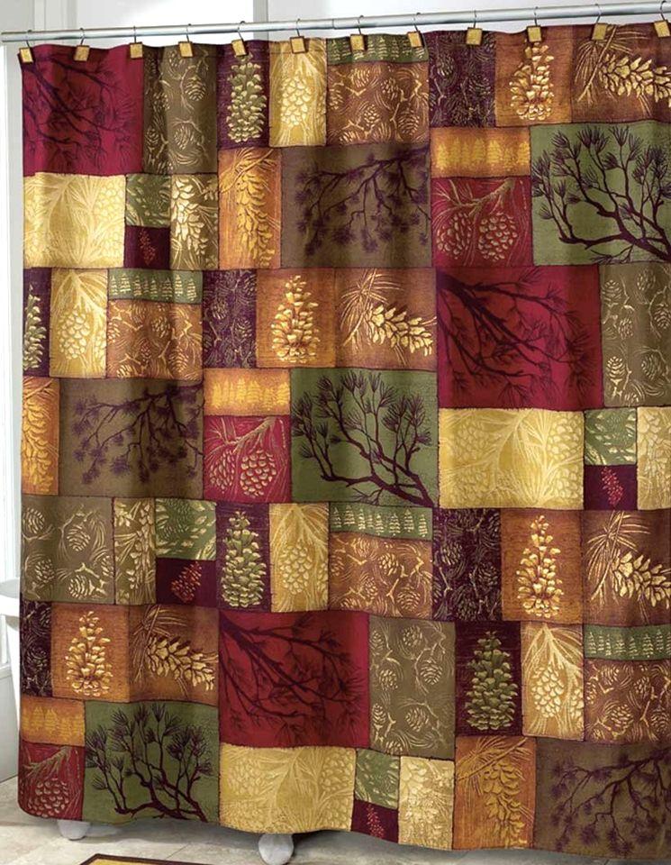 Adirondack Pine Shower Curtain Lodge Cabin Decor Fabric Shower