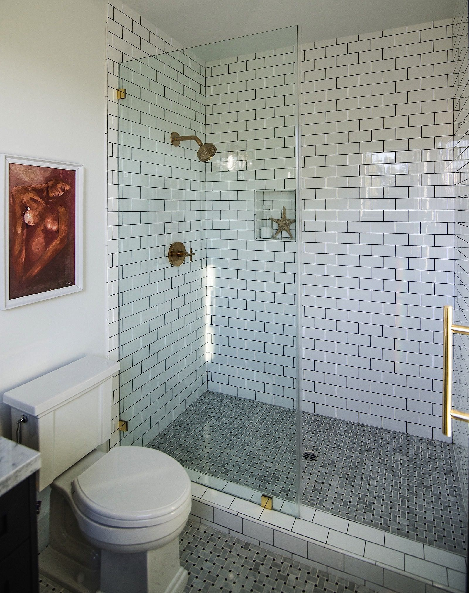 White subway tile with brass fixtures | Modern Cape Cod at Bundy in ...
