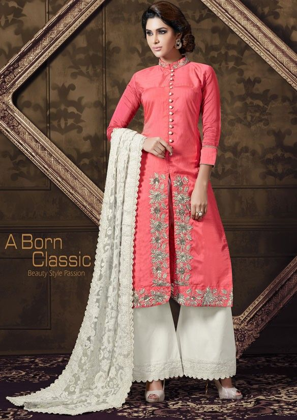7dc73713b2 Captivating Coral Pink Palazzo Suit | Palazzo Suits | Latest salwar ...