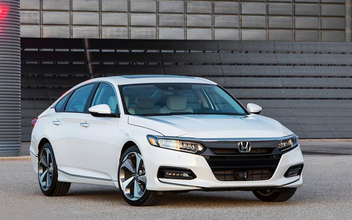 Lataa kuva Honda Accord, 2018, Uusia autoja, valkoinen Accord, uusi Accord, Japanilaiset autot, sedan, Honda