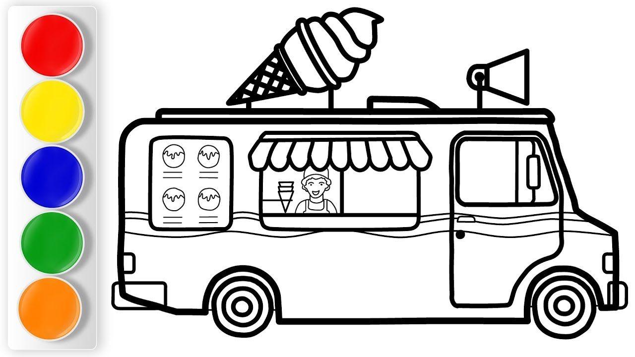 How To Draw Ice Cream Truck For Kids Ice Cream Truck Coloring For Kids Draw Ice Cream