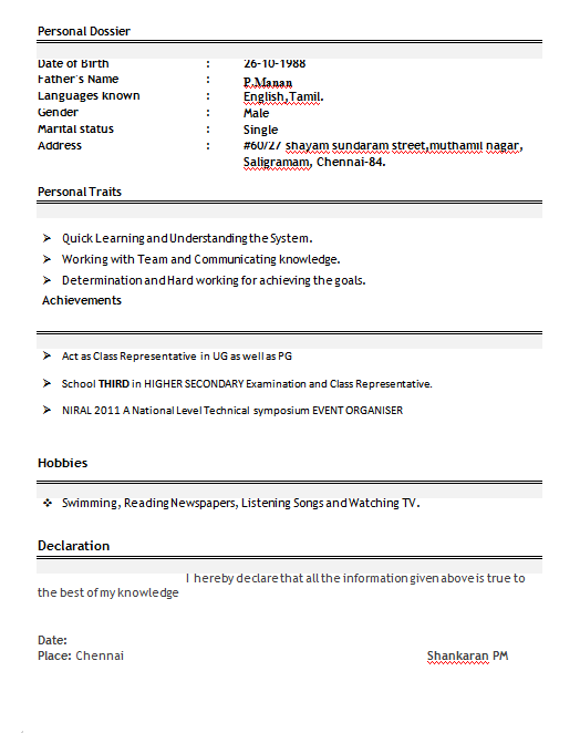 computer engineering resume format for freshers - Mca Resume Format For Freshers