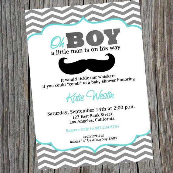 mustache invitation mustache baby shower invite little man invite
