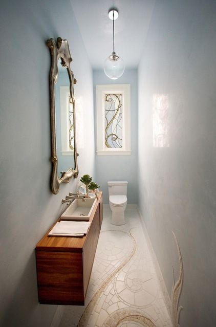 How To Make A Narrow Powder Room Feel Inviting And Comfortable 15 Ideas Powder Room Small Small Toilet Room Narrow Bathroom Designs