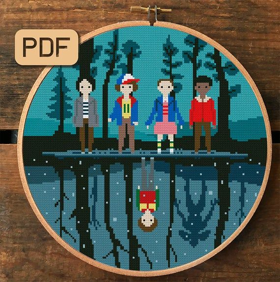 Photo of Stranger Things Cross Stitch Pattern, TV Show Embroidery Designs