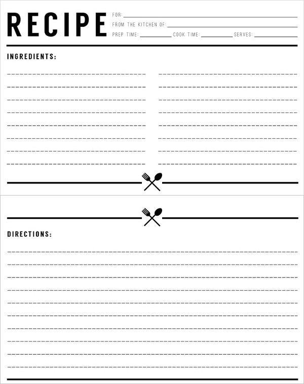 Recipe Template Pdf Standard Recipe Card Recipe Template For
