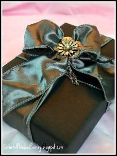 Love the matching darker hued paper and ribbon!!! Bebe'!!! Note the brass colored flower trim!!!