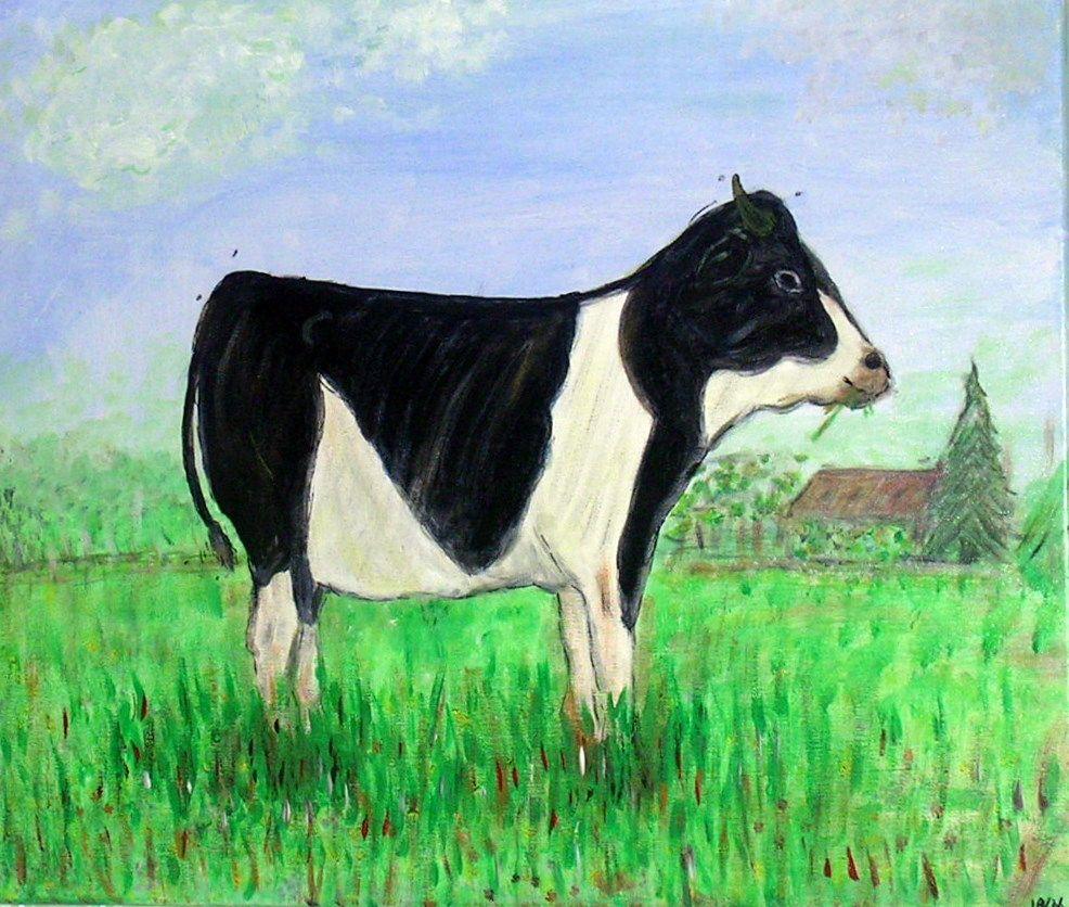 tweede schilderwerk koe in de wei  acryl op doek