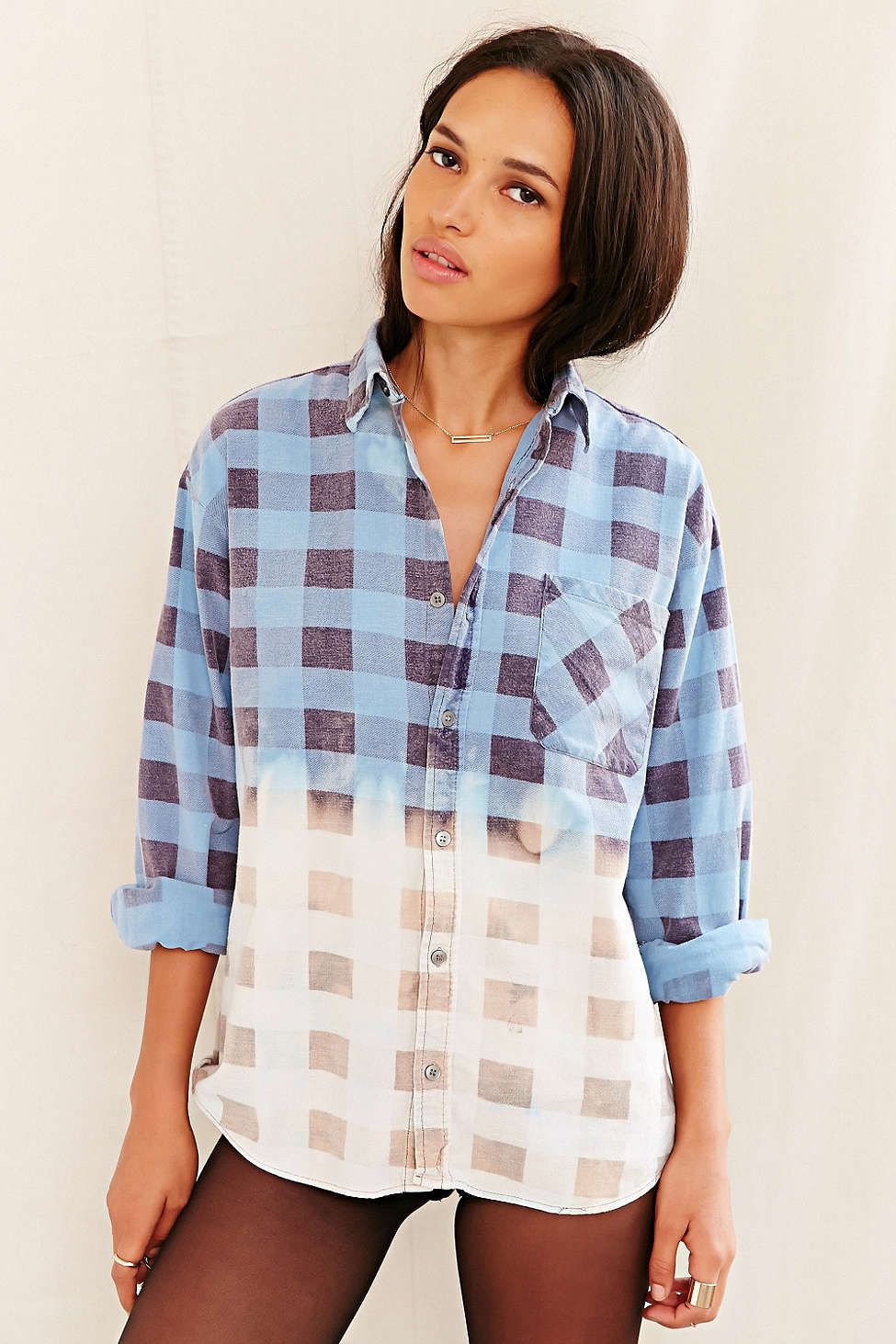 Urban Renewal Recycled Bleach-Dipped Flannel Shirt