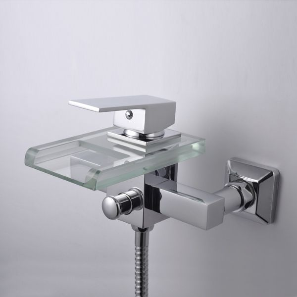 cascada contemporánea de cromo grifo de la bañera con el vidrio del - cascada de pared