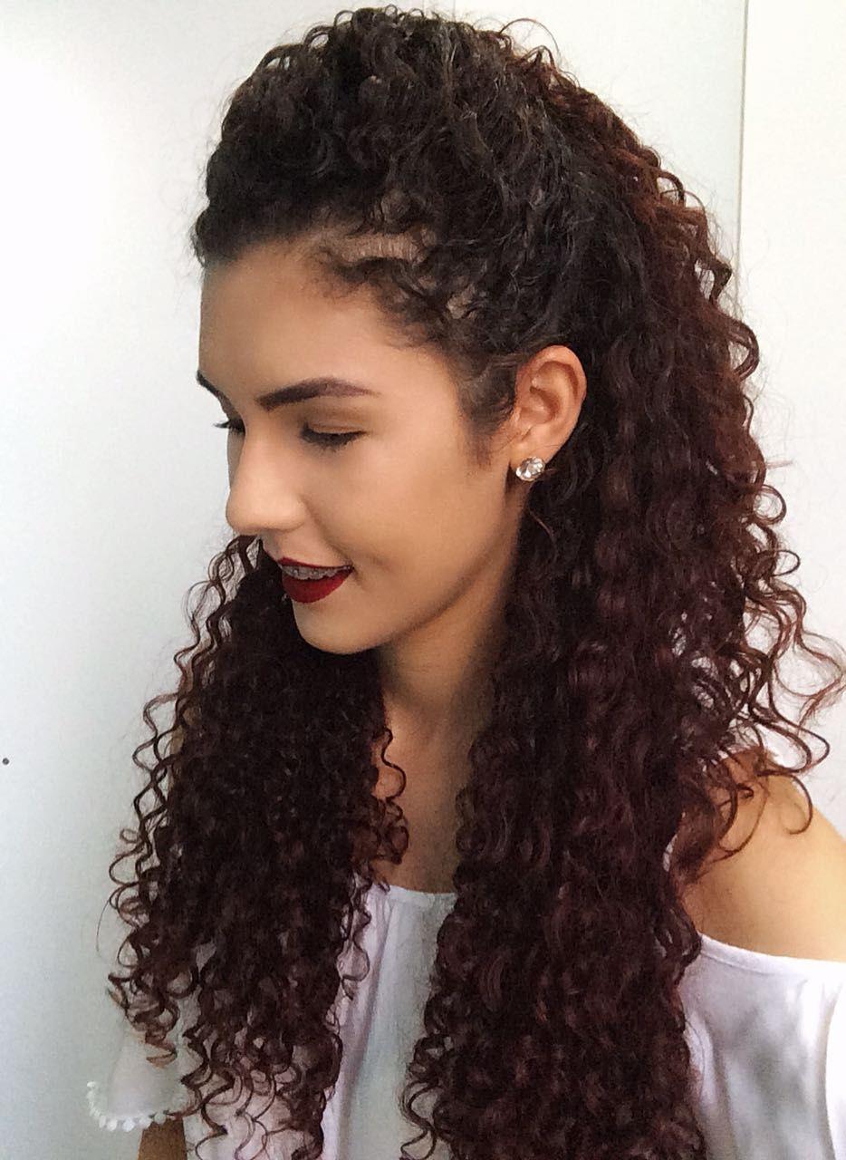 Penteado Meio Preso Para Cabelos Cacheados Hair Em 2019