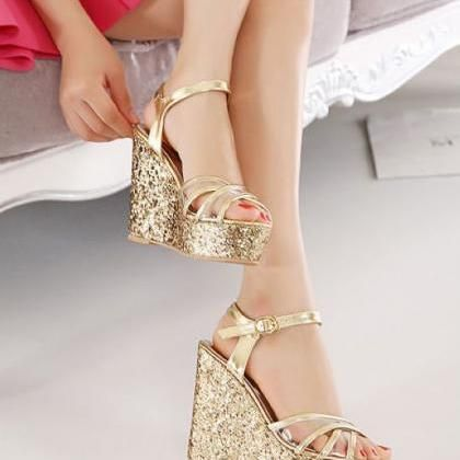 Cross Strap Wedge Sandals In Gold Cross Strap Wedges Bridesmaid Shoes Womens Fashion Shoes