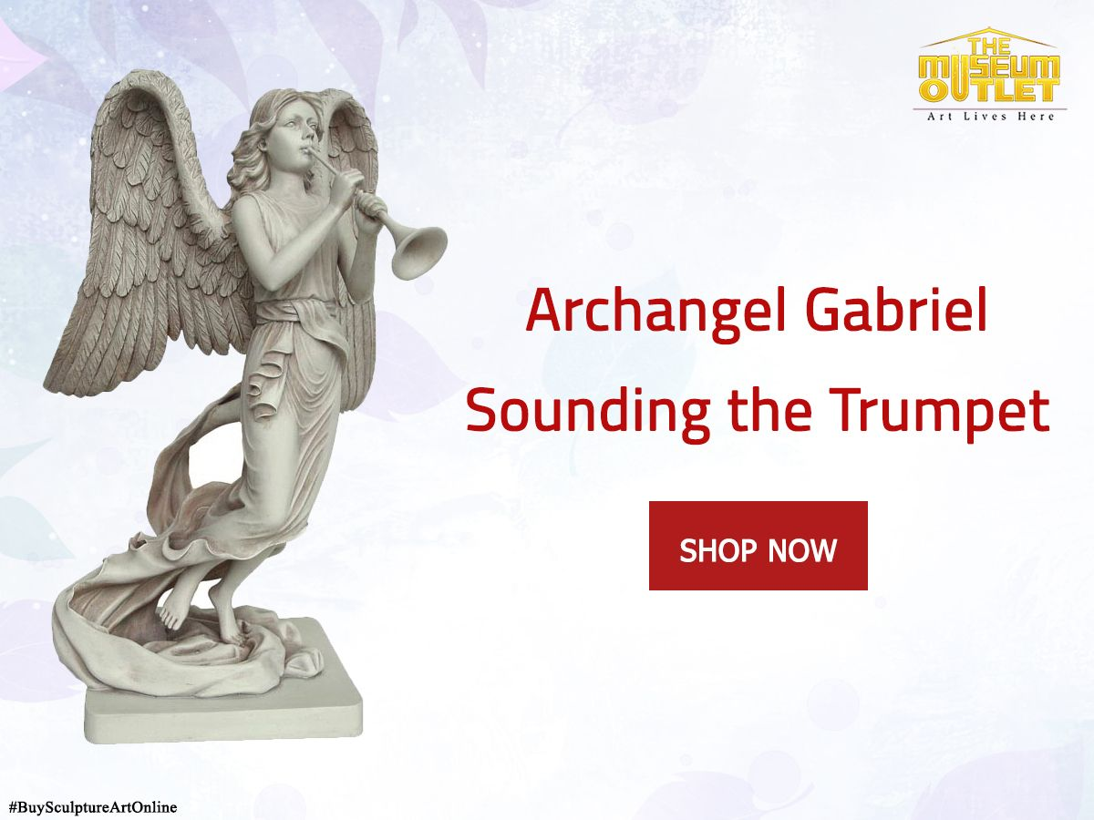 If you love sculpture, we encourage you to browse #TheMuseumOutlet's selection of original sculptures for sale by artists from around the globe. #BuySculptureArtOnline #TheMuseumOutlet  Visit: https://www.themuseumoutlet.com/archangel-gabriel-sounding-the-trumpet